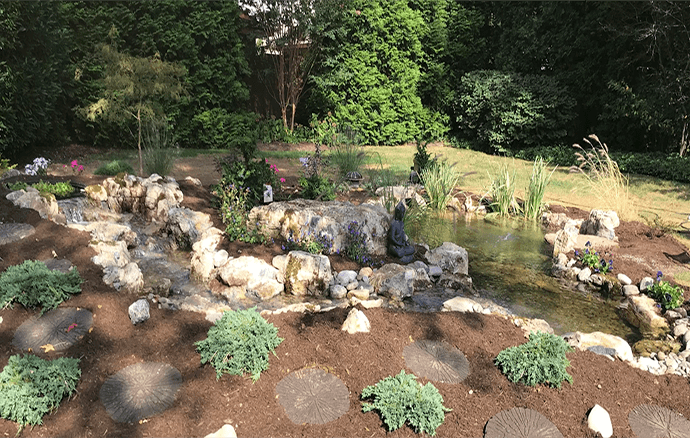 Keystone Reefscapes Eco Pond with Stepping Stones and Plantings